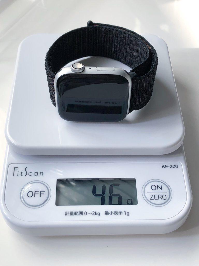タニタ キッチンスケール KF-200 WHでApple Watchを計量