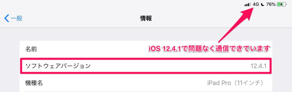iOS 12.4.1で問題なく通信できています
